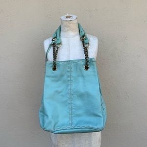 Aqua leather bucket purse